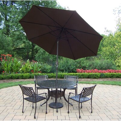 Rose 5 Piece Dining Set Umbrella Color: Brown