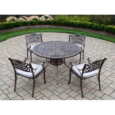 Sunray Mississippi 5 Piece Dining Set with Cushions Cushion Fabric: Standard - White