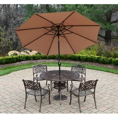 Sunray Mississippi 5 Piece Dining Set Umbrella Color: Champagne