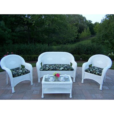Resin Wicker 4 Piece Seating Group with Cushions