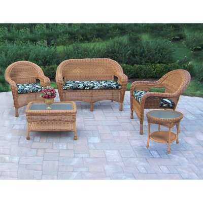 Resin Wicker 5 Piece Seating Group with Cushions Finish: Natural