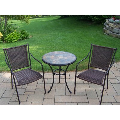 Stone Art 3 Piece Bistro Set Finish: Black