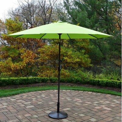 9 Market Umbrella Color: Green, Base Finish: Brown
