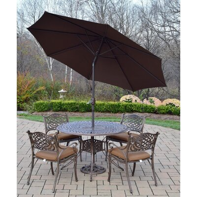 Capitol 5 Piece Dining Set with Cushions Umbrella Color: Brown, Cushion Fabric: Sunbrella - Tan