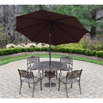 Sunray Mississippi 5 Piece Dining Set Umbrella Color: Brown