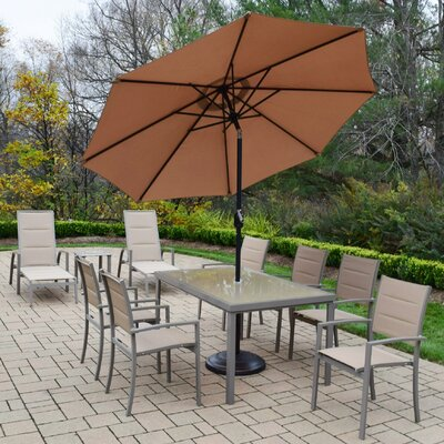 Padded Sling 10 Piece Dining Set with Umbrella