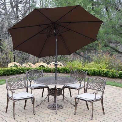 Capitol 5 Piece Dining Set with Cushions Umbrella Color: Brown
