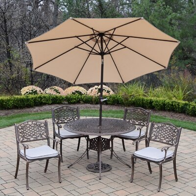 Capitol 5 Piece Dining Set with Cushions Umbrella Color: Beige