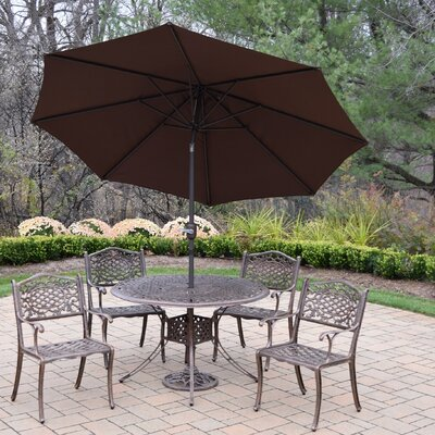 Capitol 5 Piece Dining Set Umbrella Color: Brown