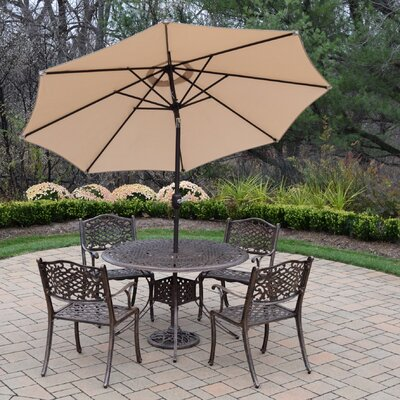 Capitol 5 Piece Dining Set Umbrella Color: Beige