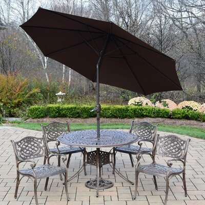Capitol 7 Piece Dining Set Umbrella Color: Brown