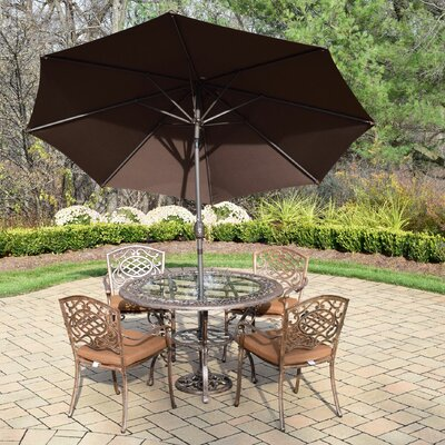 Mississippi 7 Piece Dining Set with Cushions Umbrella Color: Brown