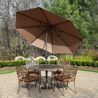 Mississippi 7 Piece Dining Set with Cushions Umbrella Color: Champagne