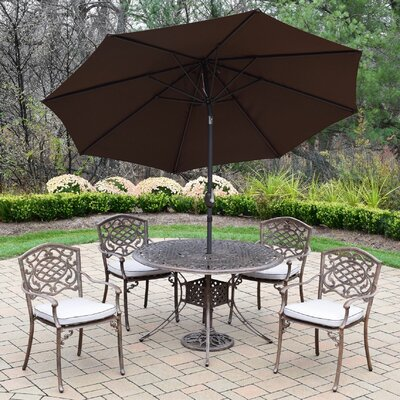 Capitol Mississippi 5 Piece Dining Set with Cushions Cushion Fabric: Standard, Umbrella Color: Brown