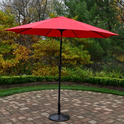 9 Market Umbrella Base Finish: Black, Color: Red
