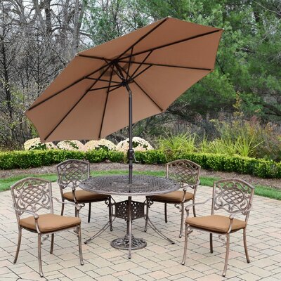 Capitol Mississippi 5 Piece Dining Set with Cushions Cushion Fabric: Sunbrella, Umbrella Color: Champagne