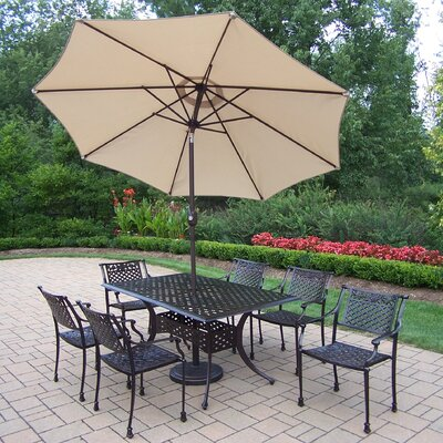 Rose 9 Piece Dining Set Umbrella Color: Beige