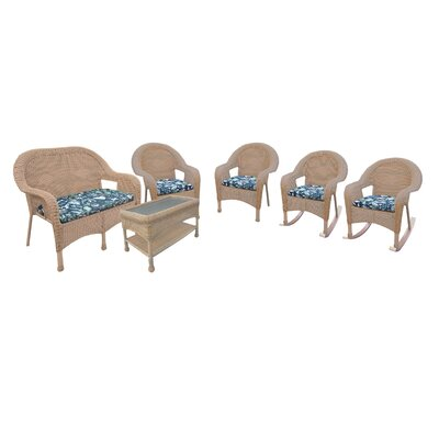 Resin Wicker 6 Piece Seating Group with Cushions Finish: Honey