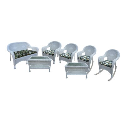 Resin Wicker 7 Piece Seating Group with Cushions Finish: White
