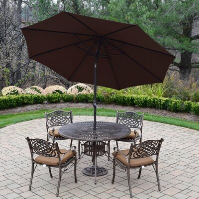 Sunray Mississippi 5 Piece Dining Set with Cushions Umbrella Color: Brown, Cushion Fabric: Sunbrella - Tan
