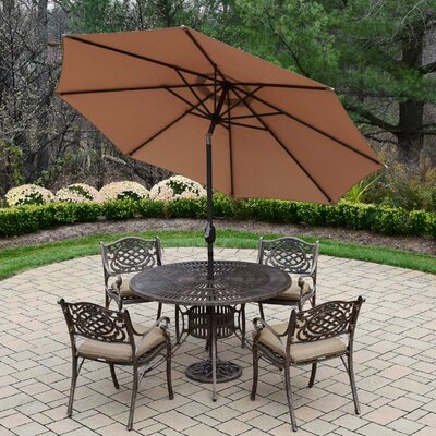 Sunray Mississippi 5 Piece Dining Set with Cushions Umbrella Color: Brown, Cushion Fabric: Standard - Tan