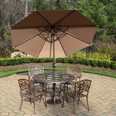 Mississippi 5 Piece Dining Set Umbrella Color: Champagne
