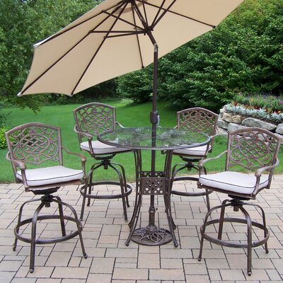 Hummingbird Mississippi 6 Piece Bar Set with Cushions and Umbrella Umbrella Color: Beige