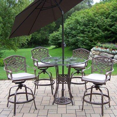 Hummingbird Mississippi 6 Piece Bar Set with Cushions and Umbrella Umbrella Color: Brown