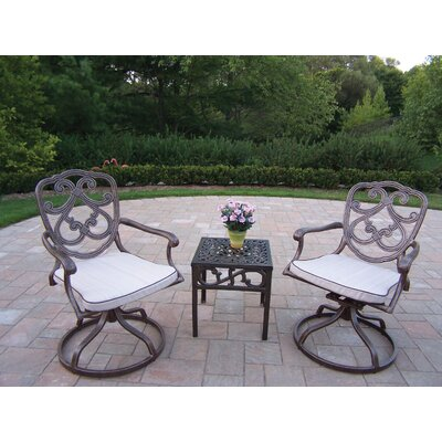 Oakland Living Pacifica 3 Piece Conversation Set with Cushions Finish: Antique Bronze