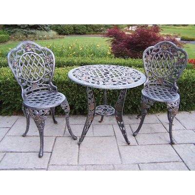 Tea Rose 3 Piece Bistro Set Finish: Antique Pewter
