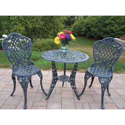 Tea Rose 3 Piece Bistro Set Finish: Verdi Grey