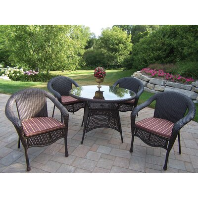 Oakland Living Resin Wicker 5 Piece Dining Set with Cushions - Cushion Color: Green at Sears.com