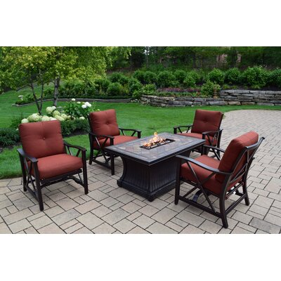 Hearthstone 5 Piece Fire Pit Seating Group with Cushion