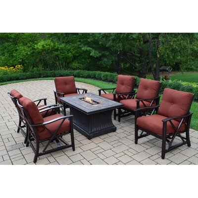 Vienna 7 Piece Fire Pit Seating Group with Cushion