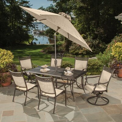 Bali Cast Aluminum and Sling 9 Piece Dining Set