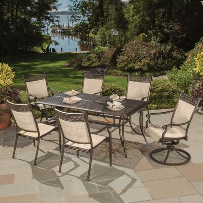 Bali Cast Aluminum and Sling 7 Piece Dining Set