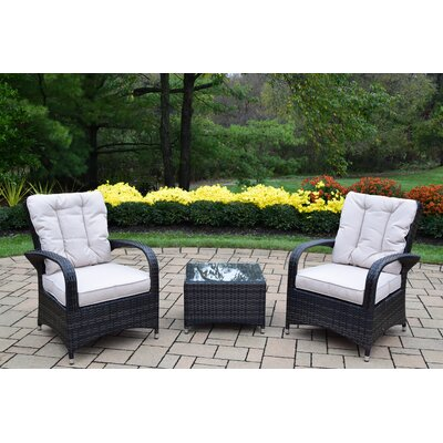 Borneo All Weather Resin Wicker High Back Zipper 3 Piece Deep Seating Group with Cushion