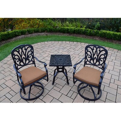 Waconia 3 Piece Dining Set with Cushions Cushion Fabric: Sunbrella - Tan