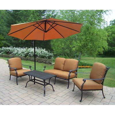 Bosch Aluminum 4 Piece Deep Seating Group with Cushions Cushion Fabric: Sunbrella - Tan