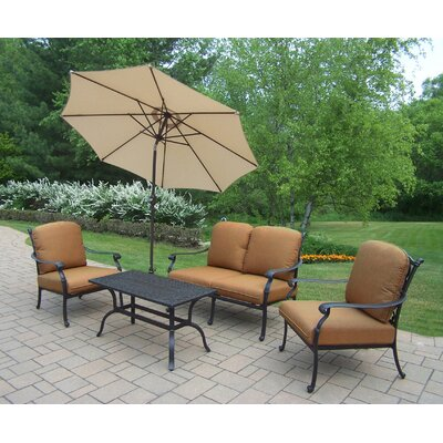 Hampton Aluminum 5 Piece Deep Seating Group with Cushions 7213-7212-7211-4005-BG-4101-9-D54-AB