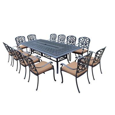 Bosch 13 Piece Dining Set with Cushions Cushion Fabric: Sunbrella - Tan
