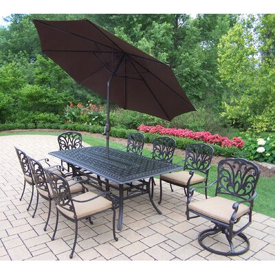Hampton 9 Piece Dining set Umbrella Color: Brown, Cushion Color: Sunbrella Spunpoly