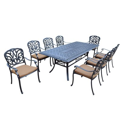 Bosch 9 Piece Dining Set with Cushion Cushion Fabric: Sunbrella - Tan