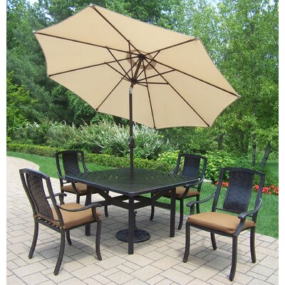 Vanguard 5 Piece Dining Set with Cushions Umbrella Color: Beige
