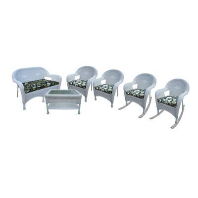 Resin Wicker 6 Piece Seating Group with Cushions Finish: White