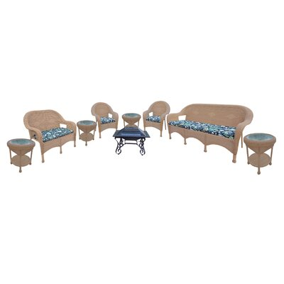 Resin Wicker 9 Piece Seating Group with Cushion Finish: Honey