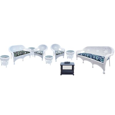 Resin Wicker 9 Piece Seating Group with Cushion Finish: White