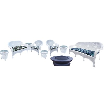 Resin Wicker 9 Piece Seating Group with Cushions Finish: White