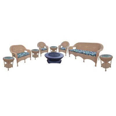 Resin Wicker 9 Piece Seating Group with Cushions Finish: Honey