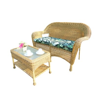 Resin Wicker 2 Piece Seating Group with Cushion Finish: Honey
